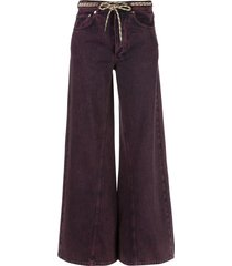 ganni flared belted jeans - purple