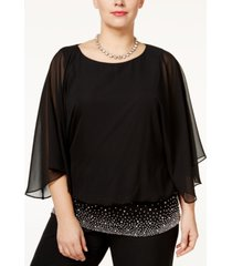 msk plus size embellished chiffon blouse