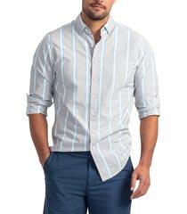 men's rodd & gunn spey street regular fit stripe button-down shirt, size x-small - grey