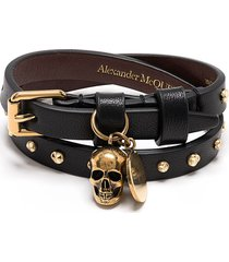 alexander mcqueen skull stud wraparound bracelet - black