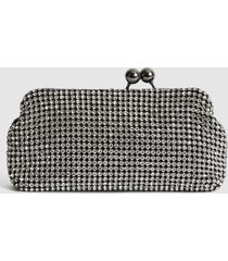 reiss bell - embellished clutch in silver, womens