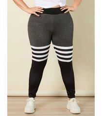 yoins basics plus leggings de retazos a rayas talla