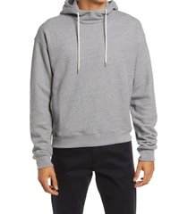 john elliott men's mock neck hoodie, size large in dark grey at nordstrom