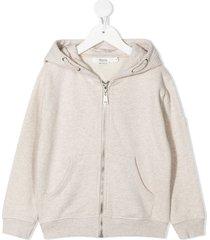 bonpoint brode zip-up cotton hoodie