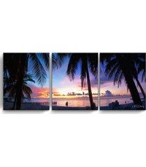 "ready2hangart mex sunset 3 piece wrapped canvas coastal wall art set, 20"" x 48"""