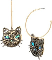 betsey johnson cat charm convertible hoop earrings