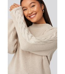 statement by na-kd influencers camilla frederikke sleeve detail knitted sweater - beige