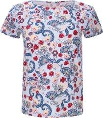 camiseta floral color azul, talla xs