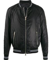 balmain teddy logo patch bomber jacket - black