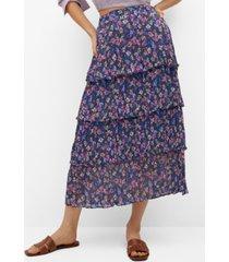 mango women's printed ruffle skirt