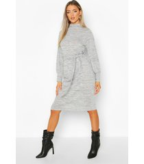 brushed belted midi shift dress, grey marl