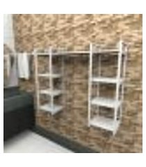 prateleira industrial banheiro aço cor branco 120x30x98cm (c)x(l)x(a) cor mdf branco modelo ind52bb