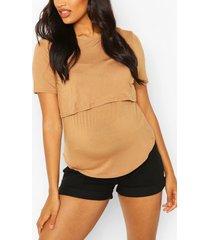 zwangerschap borstvoding t-shirt met dubbele laagjes, kameel