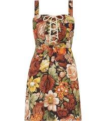 bonita lace up mini dress in chocolate floral