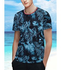 hombres summer topical planta imprimir playa hawaiian holiday camiseta de manga corta