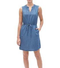 vestido sin mangas tencel azul gap