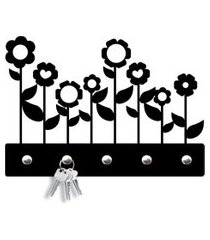 porta chaves flores love decor preto