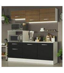 cozinha compacta madesa onix 180001 com armário e balcão branco/preto/rustic cor:branco/preto/rustic