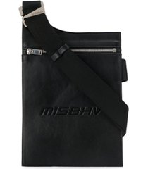 misbhv bolsa tiracolo envelope com logo gravado - preto