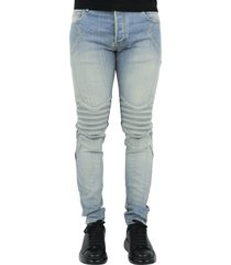 slim embossed jeans-light blue