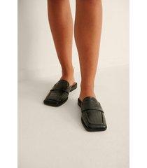 na-kd shoes slip-in loafers med fyrkantig tå - black