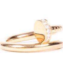 cartier juste un clou 18k rose gold diamond ring pink/gold sz: 49