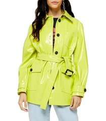 women's topshop casey belted jacket, size 8 us (fits like 6-8) - green