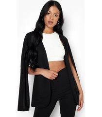 tall getailleerde blazer met cape detail, black
