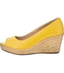 skor med kilklack klingel gul