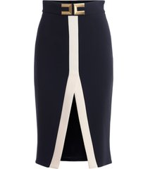 elisabetta franchi pencil skirt in black and ivory fabric