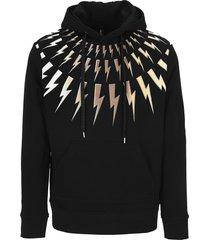 neil barrett gold thunderbolt hoodie