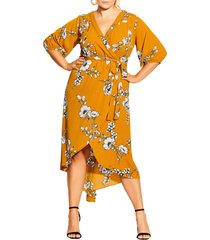 plus size women's city chic serene floral wrap front dress, size xx-large - yellow