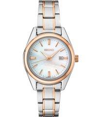 seiko women's essentials two-tone stainless steel bracelet watch 29.8mm