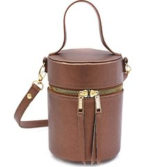 bolsa transversal maria milã£o cilindro cobre metalizada - cafã©/caramelo/castanho/cobre - feminino - dafiti