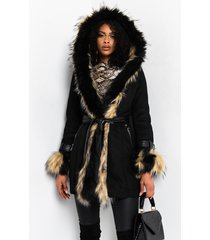 akira catalina mix faux fur long dressy coat