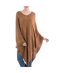 textured poncho, 'copper inca maze' (peru)