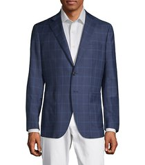 checkered wool & silk-blend jacket