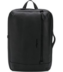 salvatore ferragamo hybrid grained leather backpack - black