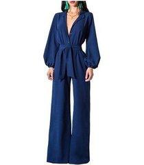 mono de mujer con manga larga y pantalón ancho-azul