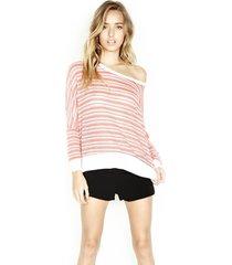fred l/s cape - m/l pink stripe