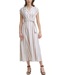 calvin klein striped collared maxi dress