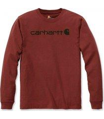 carhartt shirt men core logo l/s dark red heather-xs
