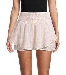 bcbgeneration women's smocked high-waist skirt - size l