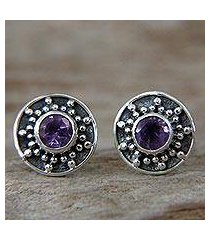 amethyst stud earrings, 'winter halo' (indonesia)