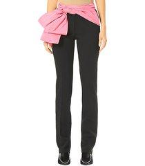 removable sash straight leg trousers