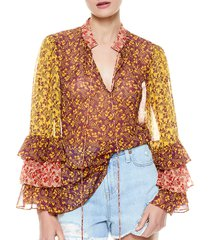 alice + olivia by stacey bendet women's justice tiered ruffle-sleeve blouse - rome floral boysenberry - size xs