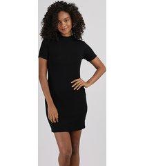 vestido feminino básico curto canelado manga curta gola alta preto