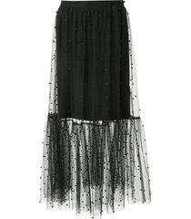macgraw beaded midi skirt - black