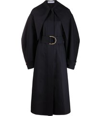 jw anderson pointed-collar belted-waist coat - blue