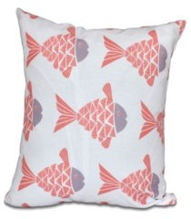 fish tales 16 inch coral and light purple decorative coastal throw pillow